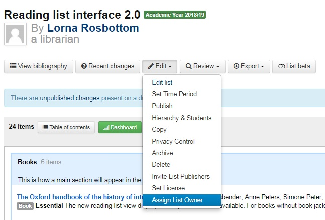 screenshot of 1.0 interface with edit drop down list assign list owner highlighted