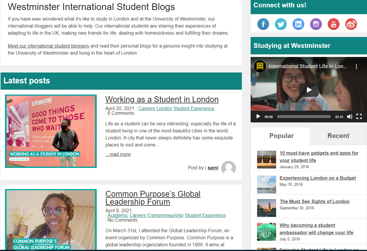 Snapshot of International Students Blog page