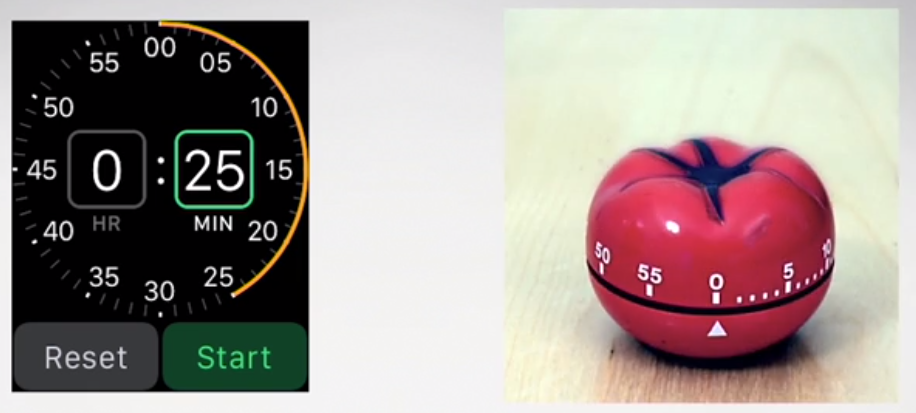 Speedometer on the left and timer in the shape of a tomato on the right
