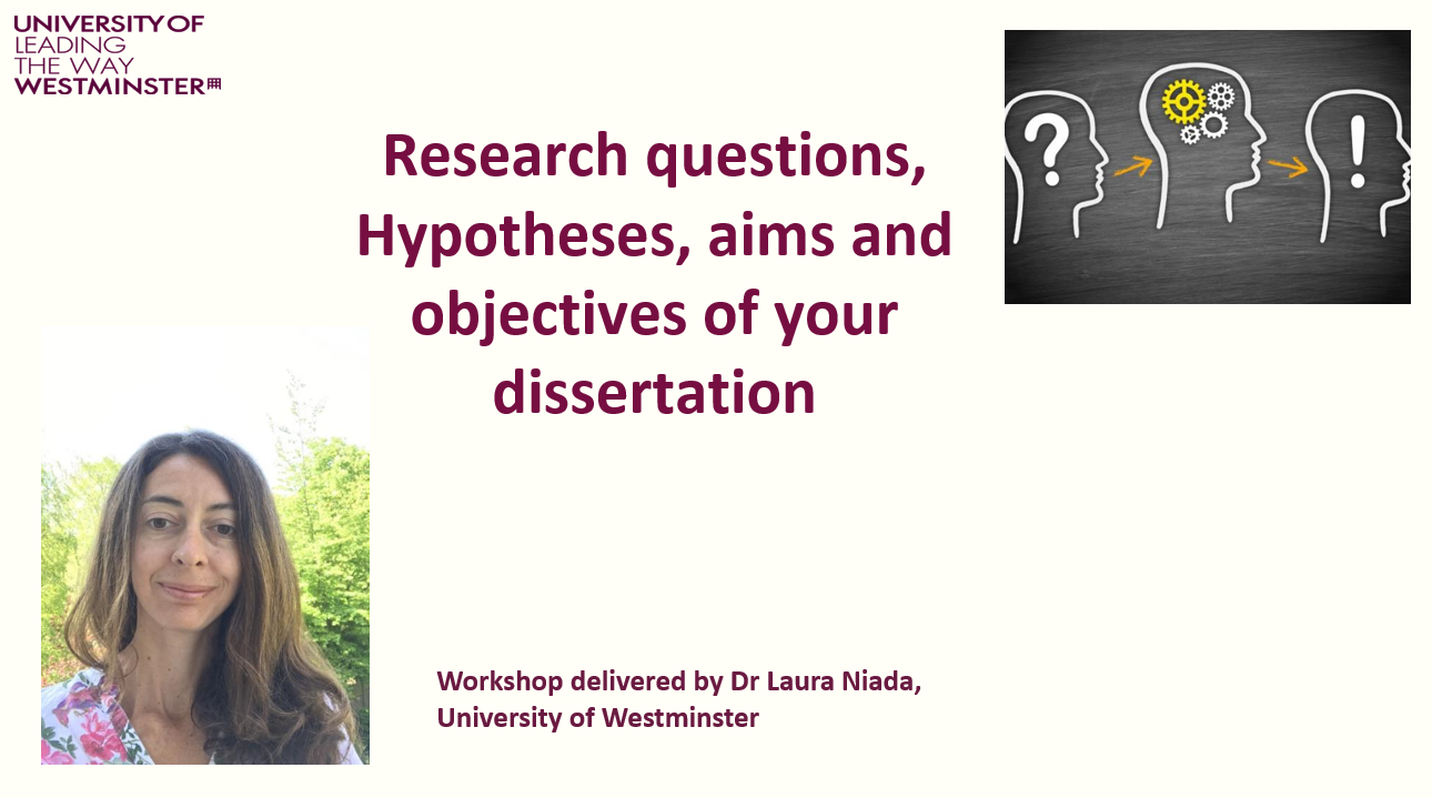 Slide from research questions, hypotheses, aims and objectives workshop