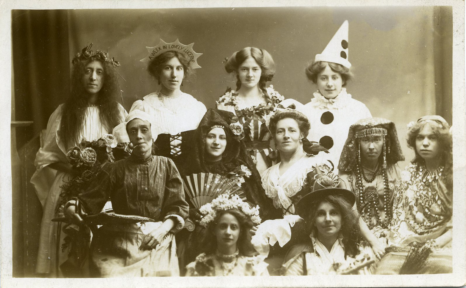 Women at a fancy dress party sometime around 1910