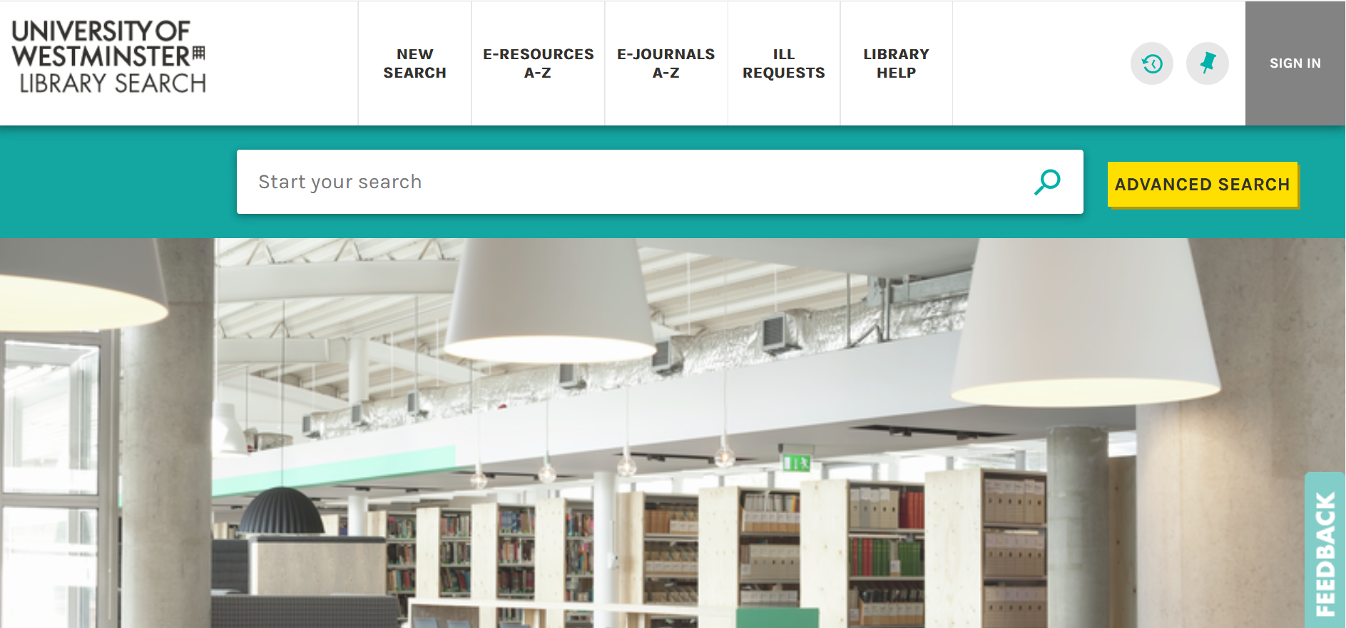 Library Search homepage