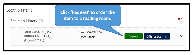 Request button in SOLO for a closed stack item