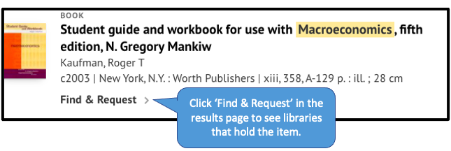 'Find & request' button in SOLO results page