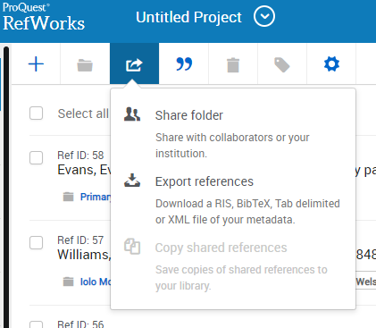 Picture of the share and export button in ProQuest RefWorks