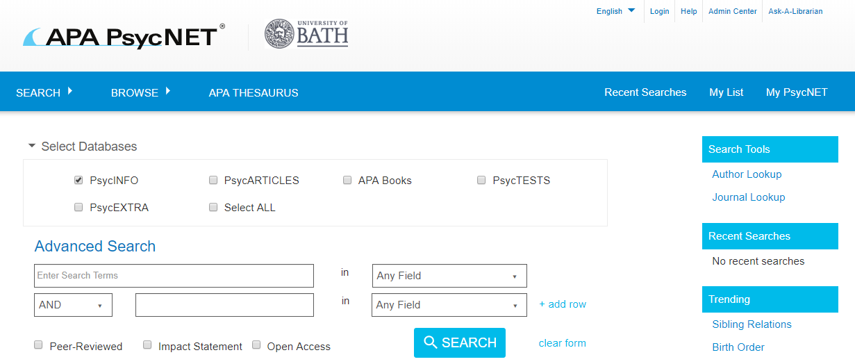 PsycINFO search: select databases option