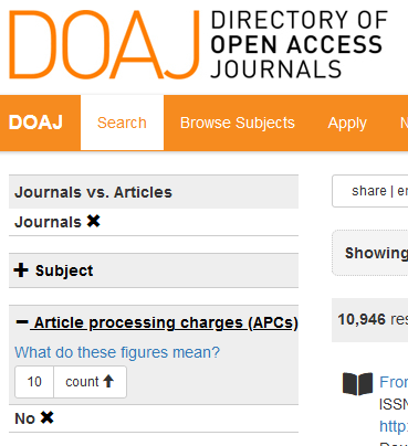 "Screenshot from DOAJ showing the filters for ""journals"" and ""APCs"""