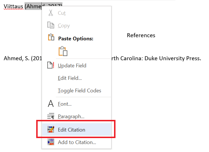 Choosing a citation for editing.