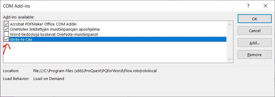 """""""COM Add-ins"""" menu in Word."""