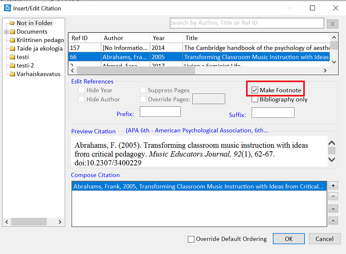 """Insert Citation"" window, ""Make Footnote"" option selected."