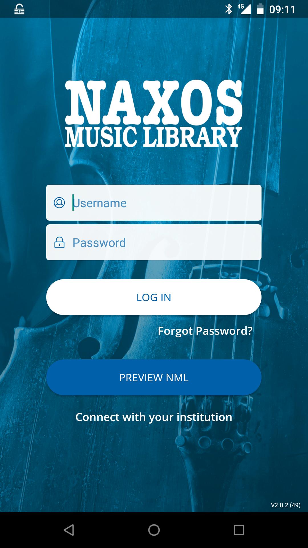 Naxoksen Android-sovelluksen sisäänkirjautumissivu.