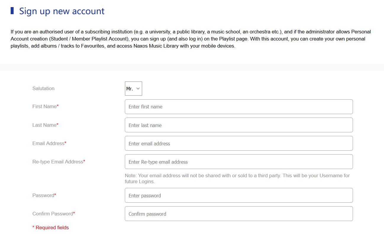 Naxos registration form.