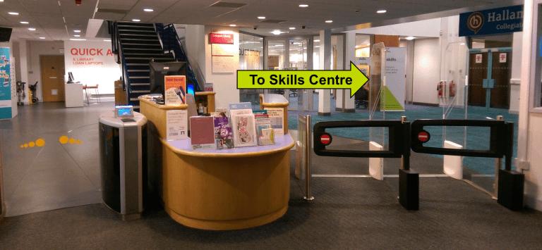 The Collegiate Library reception desk