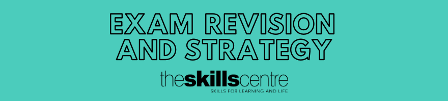 Exam revision and strategy banner. Black text on blue background.