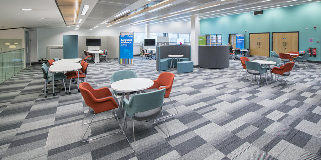 Group working space at the Skills Centre, Adsetts Library.