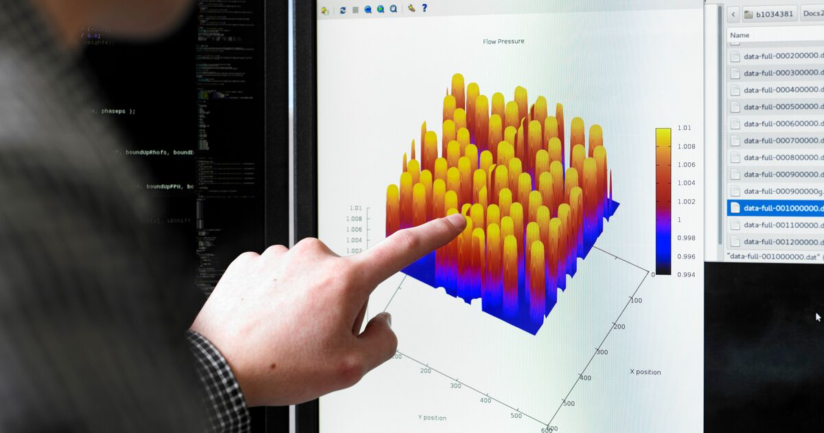 Student pointing to a graph made in statistical software.