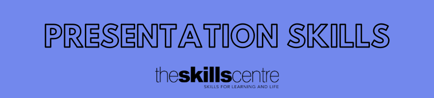 Presentation skills banner, Black text on lilac background.