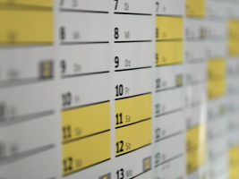 A close up of a monthly schedule.