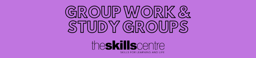 Group work and study groups banner. Black text on purple background.