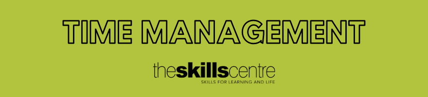 Time management banner. Black text on a lime green background.