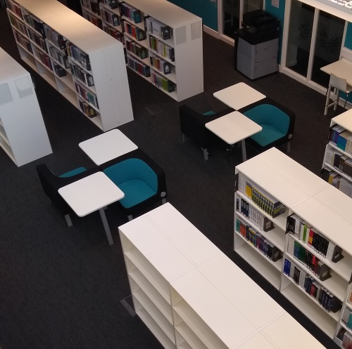 Overhead short of the new Library area, including shelving and individual study seats