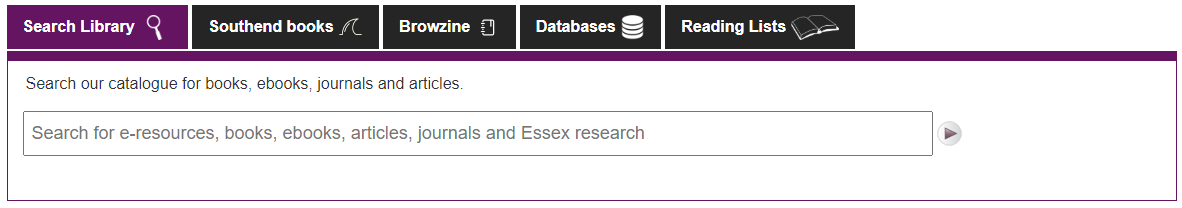 A screenshot showing the Library search