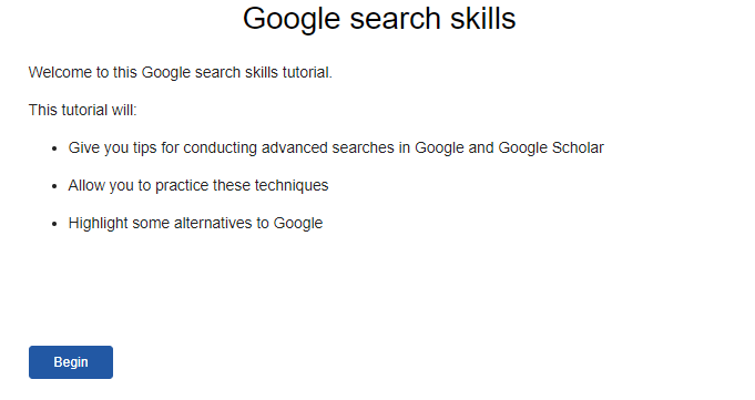 Screenshot showing the Google search skills tutorial home page