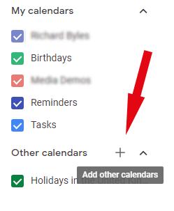 Screen-grab, import calendar