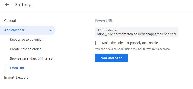Screen-shot, Google Calendar import settings