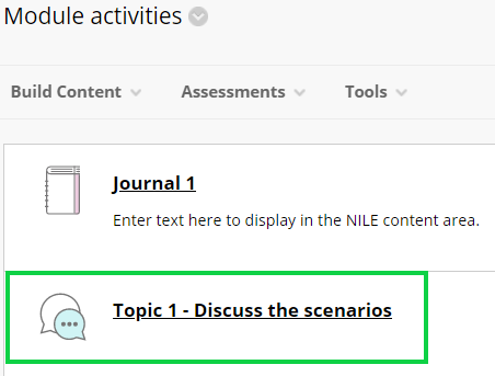 Screen-grab, discussion board link