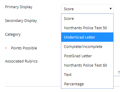 Screen-grab, linking grading schema.
