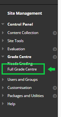 Screen-shot- Site Management > BB grade centre option selected