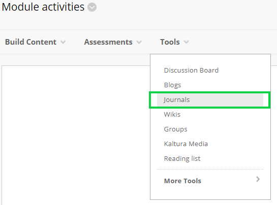 Screen-grab, tools, add journal highlighted.