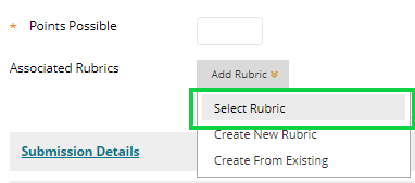 Screen-shot - associated rubric options, select rubric