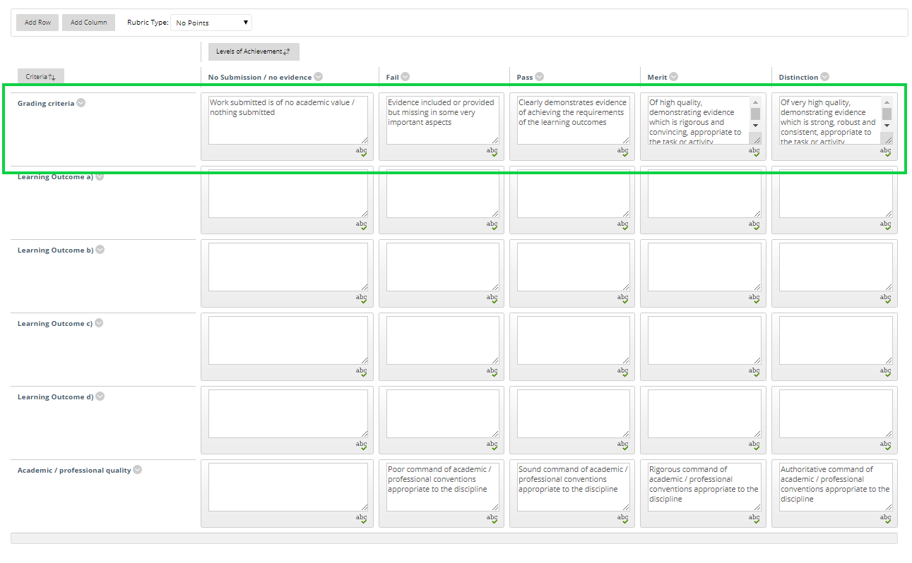 Screen-shot, Blackboard rubric