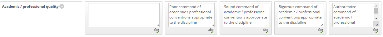 Screen-shot - Rubric row Academic & Professional Quality