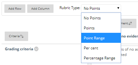 Screen-shot - Rubric Type drop down
