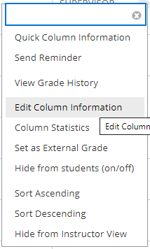 Screengrab, Grade Centre Options, Edit Column Information highlighted