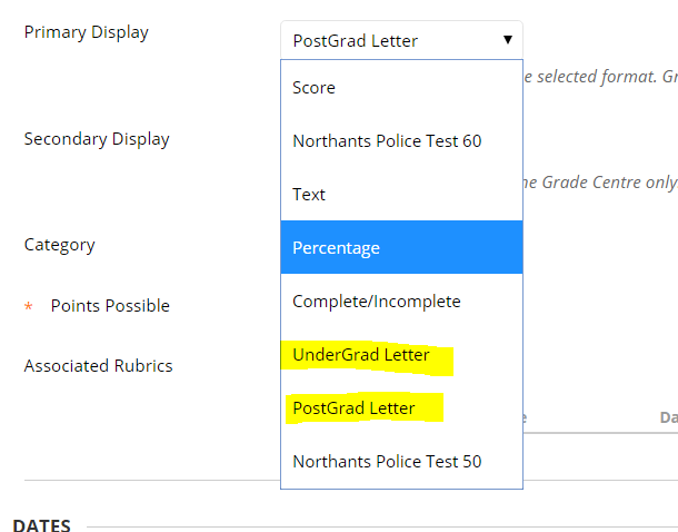 Screengrab, Primary Display options, highlighted UnderGrad Letter.