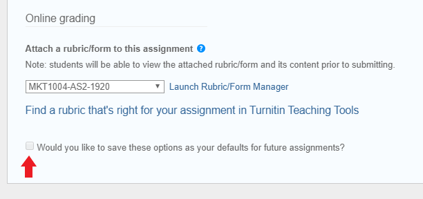Screenshot - Turnitin rubric selection highlighted