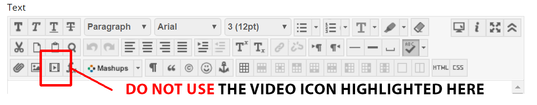 Users should not click the video icon highlighted to import video into NILE.