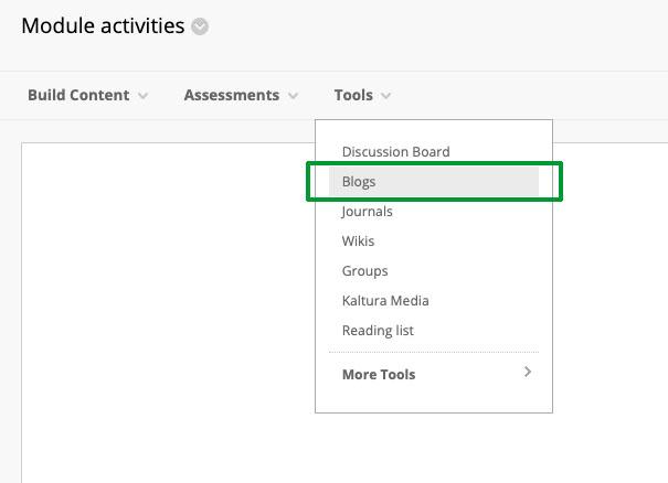 Screengrab - Add blog using Tools Menu