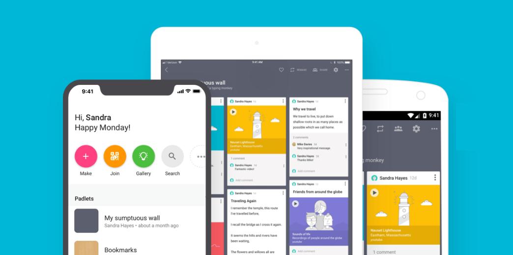 Padlet App runs on mobile devices