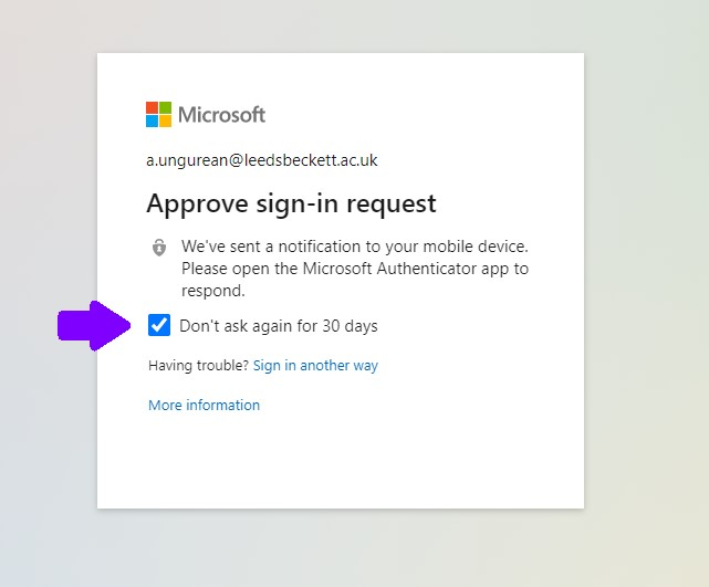 Microsoft Approve sign-in request box showing 'Don't ask again for 30 days' option