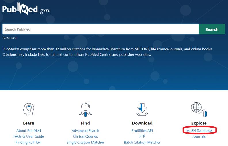 MeSH-database -linkki on sivun alareunassa oikealla.