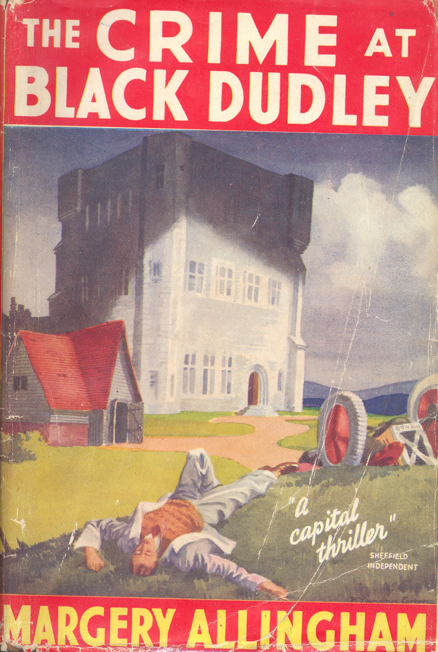 Book cover showing castle with the body of a man and a wrecked car in the foreground