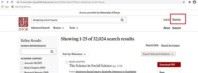Screenshot showing Register button for JSTOR