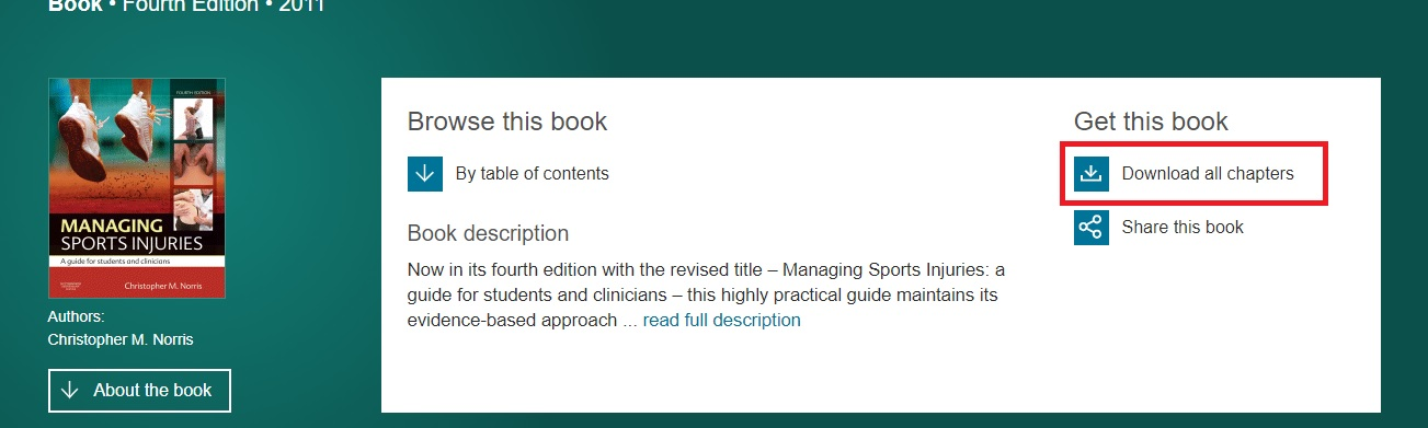 Screenshot showing download book button for Science Direct