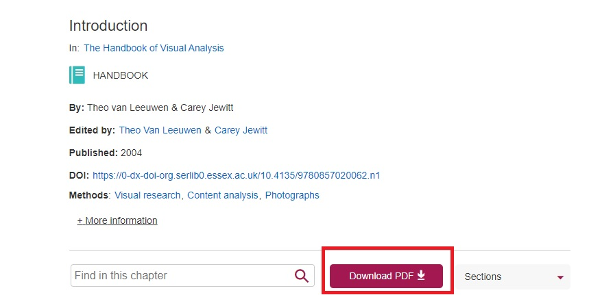 Screenshot showing chapter PDF download button in Sage Research Methods