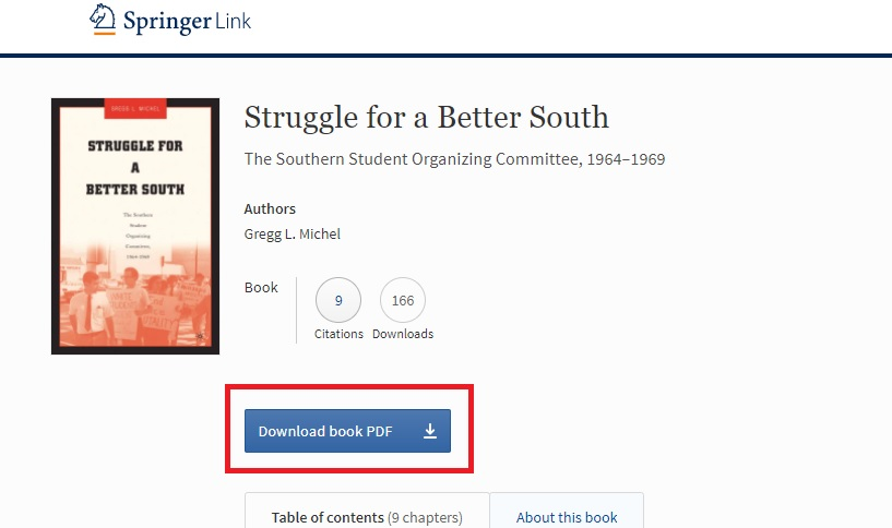 Screenshot showing pdf download option for Springer ebooks